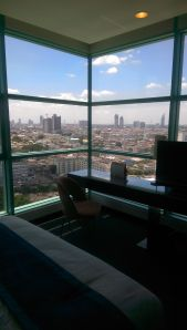 Floor to ceiling windows to really wake up to the city of Bangkok