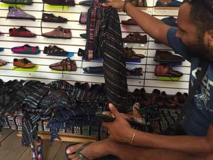 Nkosi choosing his fabric